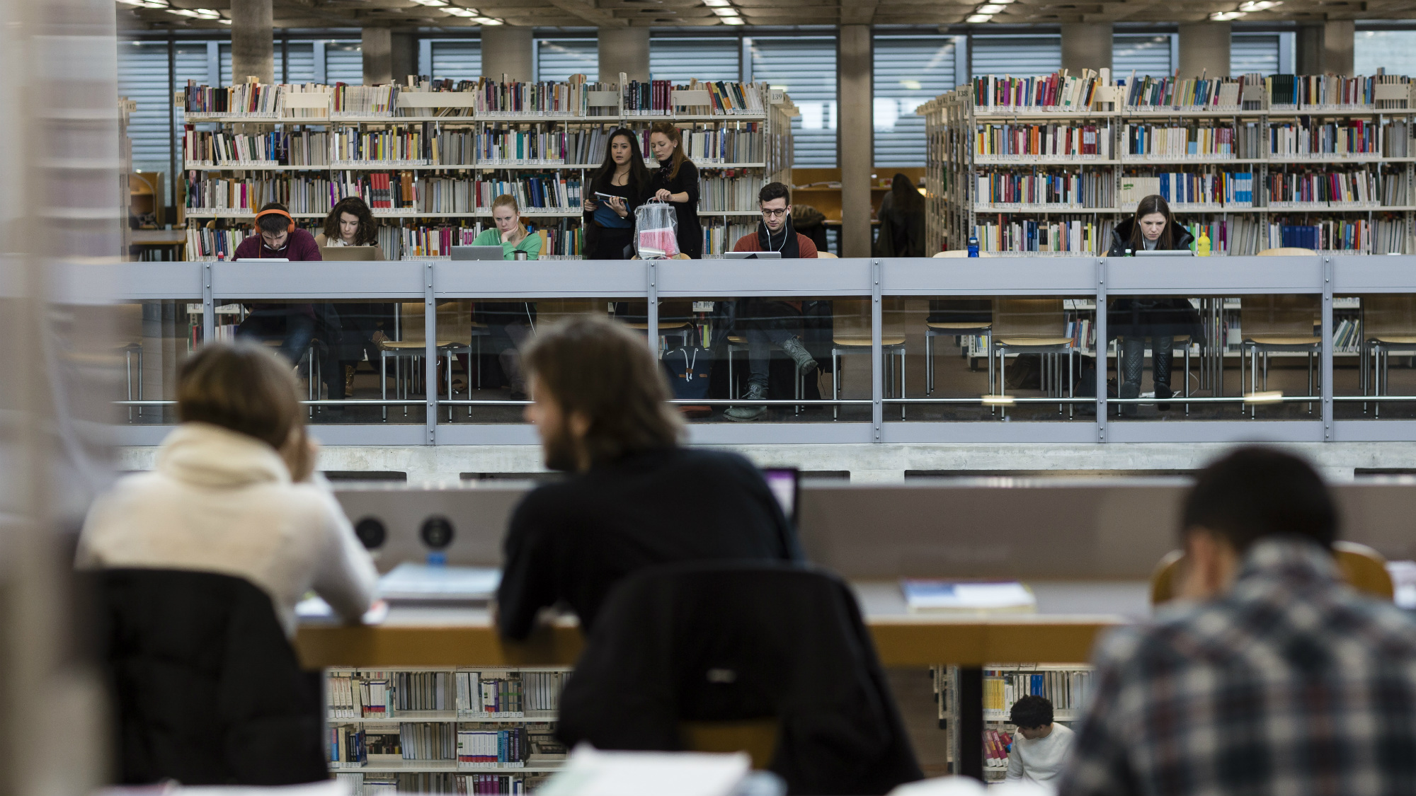 Students in the University of St.Gallen (HSG) library